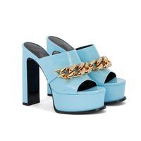 Dress Shoes Women's Sandals Ultra-high Heels Slippers Female Designer Slide Summer Leather Party High