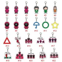 22 Style Squid Game Keychain fidget Toy Soldier Spopular Triangle Series Creative Acrylic KeyRing for Women Man Pocket Key Pendant Decoration Gift