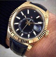 Bests Verkauf von Herrenuhr 2813 Automatische Bewegung Mechanische Mode Sapphire Glas Durable Schwarz Lederband Gold Hülle Rotierende Lünette Präsident Dating Watchs