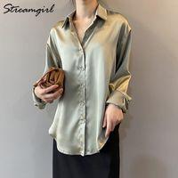 Streamgirl المرأة بلوزة كلاسيكي قمصان طويلة الأكمام النساء فضفاضة البلوزات أنيقة ل ربيع وصمة عار قميصا بيضاء الإناث