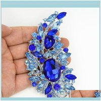 """Pins, Brooches Jewelry4Dot4"""" Big Blue Crystals Luxury Wedding Bridal Bouquet Large Brooch Elegant Women Gift Costume Broach Pins For Party S"""