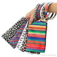 Wristlet Bags Bangle Keyring PU Leather Wristlet Keychain Bracelets Hanging Change Purse Phone Bag Women Girls Christmas Jewelry 10pcsDW4824