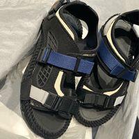 남성 아틀라스 샌들 베이지 블랙 비스 리크 자카드 플랫 신발 두꺼운 로프 Openwork 컷 아웃 샌들 최고 품질의 송아지 가죽 캐주얼 구두 고무 솔