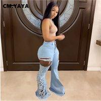 Cm. Yaya Jeans Mid Taille rasgado Elastic Lesão Comprimento total Denim Flare Feminino Moda Casual Broek Verão 2021