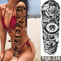 Full Arm Temporary Tattoo Sleeve Stickers Flower Clock And Animal Temporary Badyart For Men Women Adults Fake Tattoos