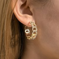 European Geometric Diamond Circle Stud Earrings Hip Hop Hollow C-shaped Ear Drop Lady Business Party Gold Earring Ornaments Accessories Wholesale