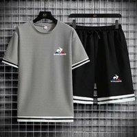 Беговые наборы бренда спортивная одежда мужская рубашка с короткими рукавами + шорты мода повседневный дышащий костюм хлопковая футболка петух
