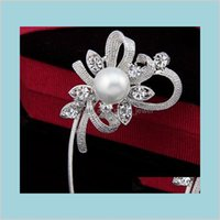 Pins Brooches Jewelry Selling Korea Elegant Pearl Flower Vintage Fashion Women Brooch For Suit Sweater Hat Scarves B896 Wedding Cake C
