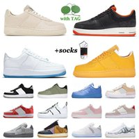 Des chaussures Nike Airforce 1 Air Force One Low Off White AF1 Running Shoes Men Women Cactus Jack Trainers Halloween Shadow N354 Peace White Stussys Raiders Dunk Mca Sneakers