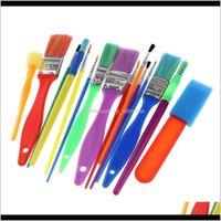 Suprimentos 15 peças Assorted Pintura Escovas Conjunto Para Crianças Estudantes DIY Creative Art Crafts Alta Qualidade Plástico Fácil de Limpar Esponja B Aiycn