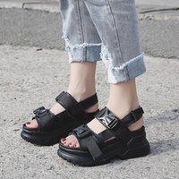 Dress Shoes Summer Women Platform Sandals Fashion Buckle Design White 7cm Increasing Thick Sole Casual Female
