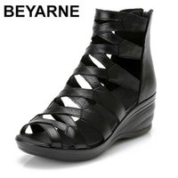 BEYARNE summer Fashion sandals genuine leather soft outsole comfortable open toe wedges mother shoes flat 210619