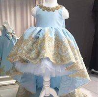 Girl's Dresses Little Child Communion Luxury Hevay Crystals Ball Gown For Birthday Party Light Blue Puffy Skirt Flower Girl