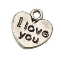 jewelry components heart charms pendants for sale bracelets necklaces retro silver I love you small flat double wholesales diy metal 11mm 500pcs