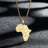 Anhänger Halsketten Chengxun Afrika Karte Afrikanischer Elefant Halskette Für Frauen Männer Edelstahl Charme Talisman Disc Schmuck Geschenk