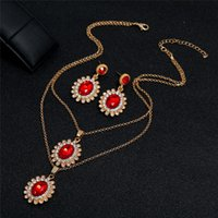 Kimter Crystal Pendant Necklace Earrings Jewelry Fashion Vintage National Style Chain Women Wedding Bride Earring Bohemia Necklaces K83FA