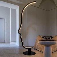 Floor Lamps Postmodern Human Face LED Lamp Nordic Minimalist Living Room Art Black Studyel Indoor Design