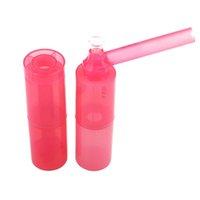 휴대용 새 물 담배 흡연 파이프 124mm 분리형 원통형 플라스틱 담배 파이프 크리 에이 티브 유리 오일 버너 파이프 물 봉지 GWE6722
