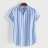 T-Shirts Mens Striped Cotton Linen Colla Loose Short Sleeve Casual Buttons Shirt T-shirt Streetwear Bottoming Tshirt Men's