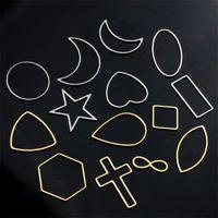 Aiovlo 10 teile / los Edelstahl Geometrische Hohlrahmen Lünette DIY Ohrring Handwerk Anhänger Schmuckherstellung Lieferungen Zubehör 1509 Q2