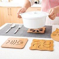 Mats & Pads Kitchen Bamboo Hollow Wooden Thick Anti-scalding Cartoon Insulation Pad Table Mat Non-slip Pot Bowl Tray