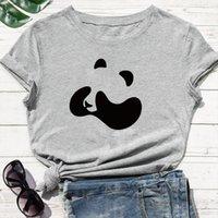 남자 재미있는 팬더는 그의 티셔츠 눈을 덮고 귀여운 인쇄 현대적인 스타일 느슨한 둥근 목 플러스 크기