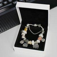 Charms 925 Gümüş Kaplama Hayat Ağacı Kolye Bilezik Set Orijinal Kutusu için Pandora Yılan Zincir DIY Boncuk Charm Bilezik5QG3