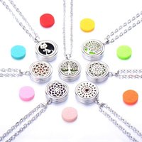 Pendant Necklaces 4 Styles Aroma Locket Necklace Magnetic Stainless Steel Essential Oil Diffuser Perfume Jewelry