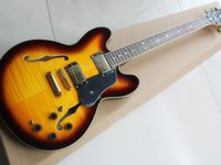 Half hollow double F hole orange black electric guitar mahogany neck