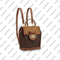 M45142 DAUPHINE BACKPACK PM lady canvas twist adjust strap Calfskin-leather trim Top handle satchel shoulder bag purse Magnetic front lock