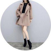 Women's Wool & Blends Coats Skirt Two Piece Set Women Long Design Loose Woolen Coat Treach Fashion Jackets Casaco Feminino Jaqueta Ensemble