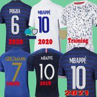 2020 MBappe Griezmann Pogba Jersey 2021 축구 유니폼 축구 셔츠 Maillot 드 Foot Men + Kids Kit Training 100 2018 Retro 1998
