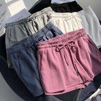 Высокие шорты талии лето черный розовый сыпучий пот женщины мини короткие спортивные спортивные Femme Spodenki Pantalones Cortos Mujer Szorty