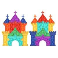 Stati Uniti A Fotografia Stock Conferimento Grande 19 * 14.7 cm Big Size Castello Jigsaw Puzzle Push Bubble Board Fidget Giocattoli sensoriali Finger Fun Ball Mega Jumbo Rainbow Colore