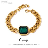 Bracelet Yhpup Green Crystal Stainless Steel Gold Bangle for Women Hip Hop Thick Chain18 K Plated Punk Fashion Bracelets New