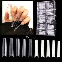 500 Pcs+100Pcs XXL Coffin Tips C Curve Long False Nail Tip Half Cover Acrylic s Salon Supply Extension System Art Tool 210630