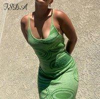 2021 인쇄 니트 바디 콘 드레스 여성 녹색 Y2K 여름 중공 섹시 민소매 스파게티 스트랩 비치 미디 드레스 파티