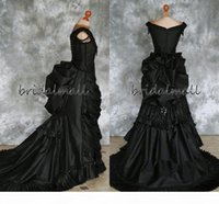 Abito da trambusto vittoriano gotico in rilievo taffettà con treno Vampiro Ball Masquerade Halloween Black Dress da sposa Steampunk Goth XIX secolo