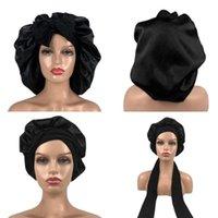 Beanie Skull Caps 1 Piece Girls Women Polyester High Elastic Night Sleeping Shower Cap Hair Bonnet Hat Head Cover Satin Turban Lace Up