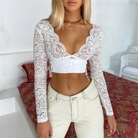 Womens Tops And Blouses Elegant Boho Beach Mesh Lace Shirt Ladies V Neck Crop Top Fashion Sexy Playa Streetwear Women's & Shirts