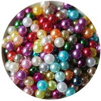 Wholesale 8mm 50pcs模造真珠のラウンドビーズDIYブレスレットイヤリングチャームネックレスビーズ1980 Q2