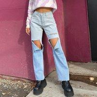 Degrade Y2K parlama kot kızlar için kadın 2021 moda kadın Vintage kot pantolon yüksek belli pantolon capri streetwear
