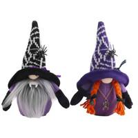 New Halloween Broomstick Top Hat Witch Dwarf Gnome Doll Ornaments Cute Cartoon Dwarf Elf Home Decor Halloween Celebration GWA8675