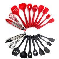 10 adet / takım Silikon Mutfak Eşyası Isıya Dayanıklı Spatula Servis Karıştırma Kaşık Maşa Kepçe Gadget Yapışmaz Pişirme Aracı KDJK1911