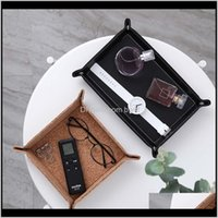 Decorative Plates Aents Décor Home & Gardendice Holder Pu Leather Folding Dice Rolling For Serving Collapsible Wallet Coin Key Trinket Tray S
