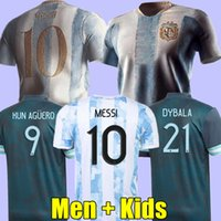 2021 Argentina Fútbol Jersey 20 21 Copa Messi Football Shirt Dybala Agüero di Maria Men + Kits Kits 1986 1994 1998 Retro Maradona Uniforms