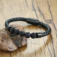Bracelets Titanium Steel Man Chakra Jewelry Wholesale of Rye Black Leather Vulcan Beads Braclet Stone Leather