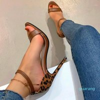 Fashion-Women's High Heels Breathable Leopard Printed Slip-on Casual Open Toe Party Club Sandals Shoes Sandalias De Mujer Dress
