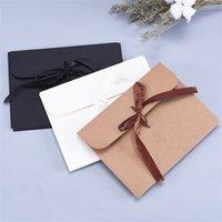 400pcs lot Black White Kraft Paper Cardboard Envelope Bag Scarf Packaging Box Photo Postcard Envelope Gift Box With Ribbon