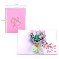 Dia das mães cartões cartões postais 3d pop up flor obrigado mãe feliz aniversário convite personalizado Papel de casamento de presentes 1948 v2